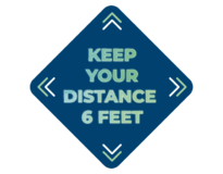 "FLOOR DECAL - KEEP YOUR DISTANCE 6 FEET 12""x12"""
